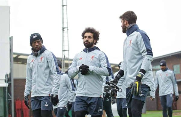 Liverpool's L-R Georginio Wijnaldum, Mohamed Salah and goalkeeper Alisson Becker during a training session at Melwood Training Ground ahead of the UEFA Champions League Quarter-Final 2nd Leg match between FC Porto and Liverpool FC. (Pic by Laura Malkin/Propaganda)