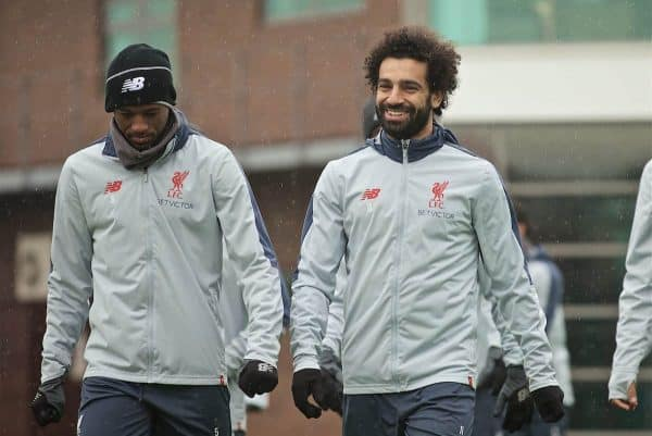 LIVERPOOL, ENGLAND - Tuesday, April 16, 2019: Liverpool's Georginio Wijnaldum (L) and Mohamed Salah (R) during a training session at Melwood Training Ground ahead of the UEFA Champions League Quarter-Final 2nd Leg match between FC Porto and Liverpool FC. (Pic by Laura Malkin/Propaganda)