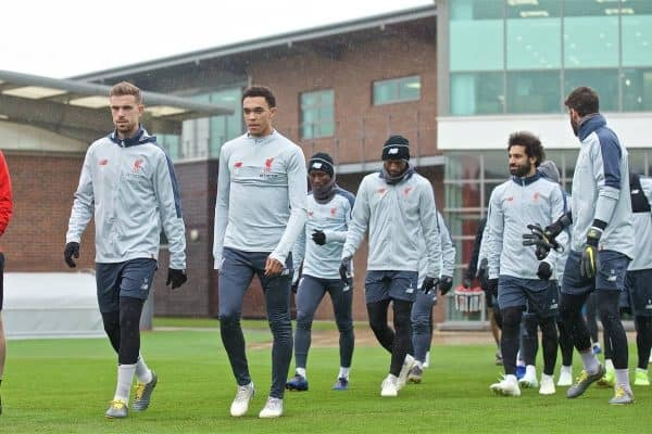 LIVERPOOL, ENGLAND - Tuesday, April 16, 2019: Liverpool's goalkeeping coach John Achterberg, captain Jordan Henderson, Trent Alexander-Arnold during a training session at Melwood Training Ground ahead of the UEFA Champions League Quarter-Final 2nd Leg match between FC Porto and Liverpool FC. (Pic by Laura Malkin/Propaganda)