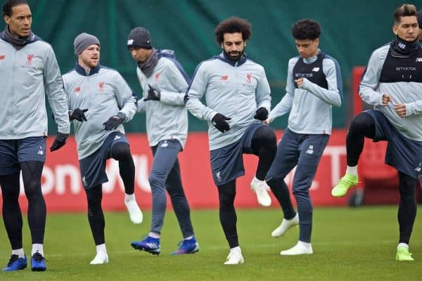 LIVERPOOL, ENGLAND - Tuesday, April 16, 2019: Liverpool's Virgil van Dijk, Xherdan Shaqiri, Fabio Henrique Tavares 'Fabinho', Mohamed Salah, Curtis Jones and Roberto Firmino during a training session at Melwood Training Ground ahead of the UEFA Champions League Quarter-Final 2nd Leg match between FC Porto and Liverpool FC. (Pic by Laura Malkin/Propaganda)