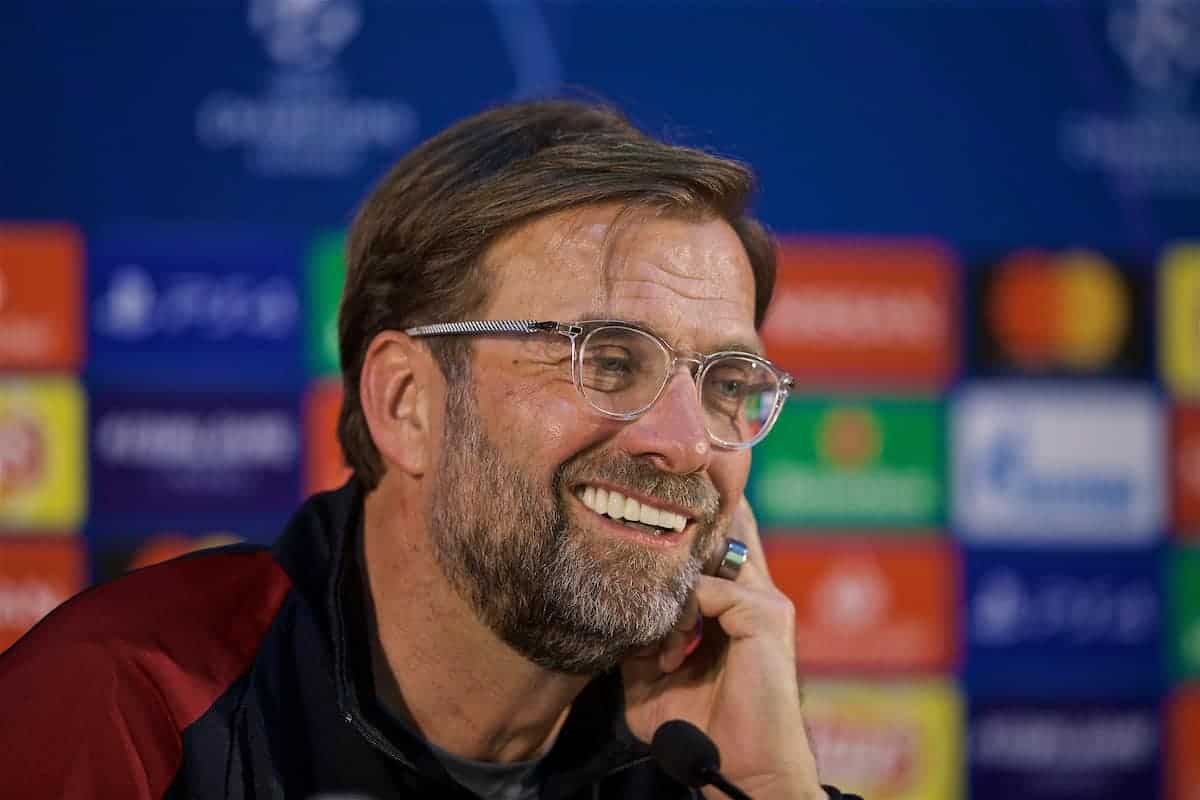 PORTO, PORTUGAL - Tuesday, April 16, 2019': Liverpool's manager Jürgen Klopp during a press conference ahead of the UEFA Champions League Quarter-Final 2nd Leg match between FC Porto and Liverpool FC at Estádio do Dragão. (Pic by David Rawcliffe/Propaganda)