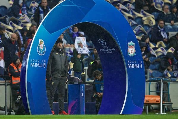 PORTO, PORTUGAL - Wednesday, April 17, 2019: Liverpool's manager Jürgen Klopp before the UEFA Champions League Quarter-Final 2nd Leg match between FC Porto and Liverpool FC at Estádio do Dragão. (Pic by David Rawcliffe/Propaganda)