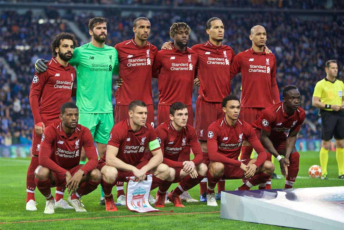 PORTO, PORTUGAL - Wednesday, April 17, 2019: Liverpool's players line-up for a team group photograph before the UEFA Champions League Quarter-Final 2nd Leg match between FC Porto and Liverpool FC at Estádio do Dragão. Back row L-R: Mohamed Salah, goalkeeper Alisson Becker, Joel Matip, Divock Origi, Virgil van Dijk, Fabio Henrique Tavares 'Fabinho'. Front row L-R: Georginio Wijnaldum, captain James Milner, Andy Robertson, Trent Alexander-Arnold, Sadio Mane. (Pic by David Rawcliffe/Propaganda)PORTO, PORTUGAL - Wednesday, April 17, 2019: Liverpool's players line-up for a team group photograph before the UEFA Champions League Quarter-Final 2nd Leg match between FC Porto and Liverpool FC at Estádio do Dragão. Back row L-R: Mohamed Salah, goalkeeper Alisson Becker, Joel Matip, Divock Origi, Virgil van Dijk, Fabio Henrique Tavares 'Fabinho'. Front row L-R: Georginio Wijnaldum, captain James Milner, Andy Robertson, Trent Alexander-Arnold, Sadio Mane. (Pic by David Rawcliffe/Propaganda)