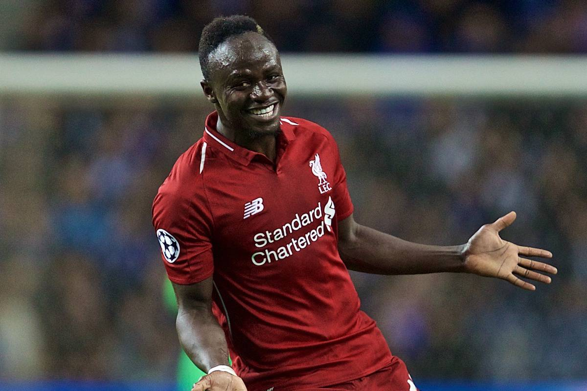 "PORTO, PORTUGAL - Wednesday, April 17, 2019: Liverpool's Sadio Mane celebrates scoring the first goal during the UEFA Champions League Quarter-Final 2nd Leg match between FC Porto and Liverpool FC at Est·dio do Drag""o. (Pic by David Rawcliffe/Propaganda)"