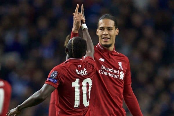 "PORTO, PORTUGAL - Wednesday, April 17, 2019: Liverpool's Sadio Mane celebrates scoring the first goal with team-mated Virgil van Dijk uring the UEFA Champions League Quarter-Final 2nd Leg match between FC Porto and Liverpool FC at Est·dio do Drag""o. (Pic by David Rawcliffe/Propaganda)"