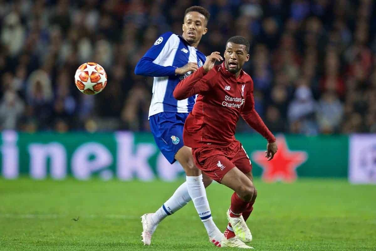 "PORTO, PORTUGAL - Wednesday, April 17, 2019: Liverpool's Georginio Wijnaldum during the UEFA Champions League Quarter-Final 2nd Leg match between FC Porto and Liverpool FC at Est·dio do Drag""o. (Pic by David Rawcliffe/Propaganda)"