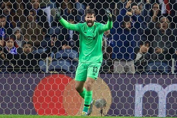 "PORTO, PORTUGAL - Wednesday, April 17, 2019: Liverpool's goalkeeper Alisson Becker reacts during the UEFA Champions League Quarter-Final 2nd Leg match between FC Porto and Liverpool FC at Est·dio do Drag""o. (Pic by David Rawcliffe/Propaganda)"