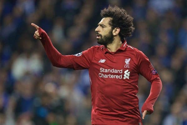 PORTO, PORTUGAL - Wednesday, April 17, 2019: Liverpool's Mohamed Salah celebrates scoring the second goal during the UEFA Champions League Quarter-Final 2nd Leg match between FC Porto and Liverpool FC at Estádio do Dragão. (Pic by David Rawcliffe/Propaganda)