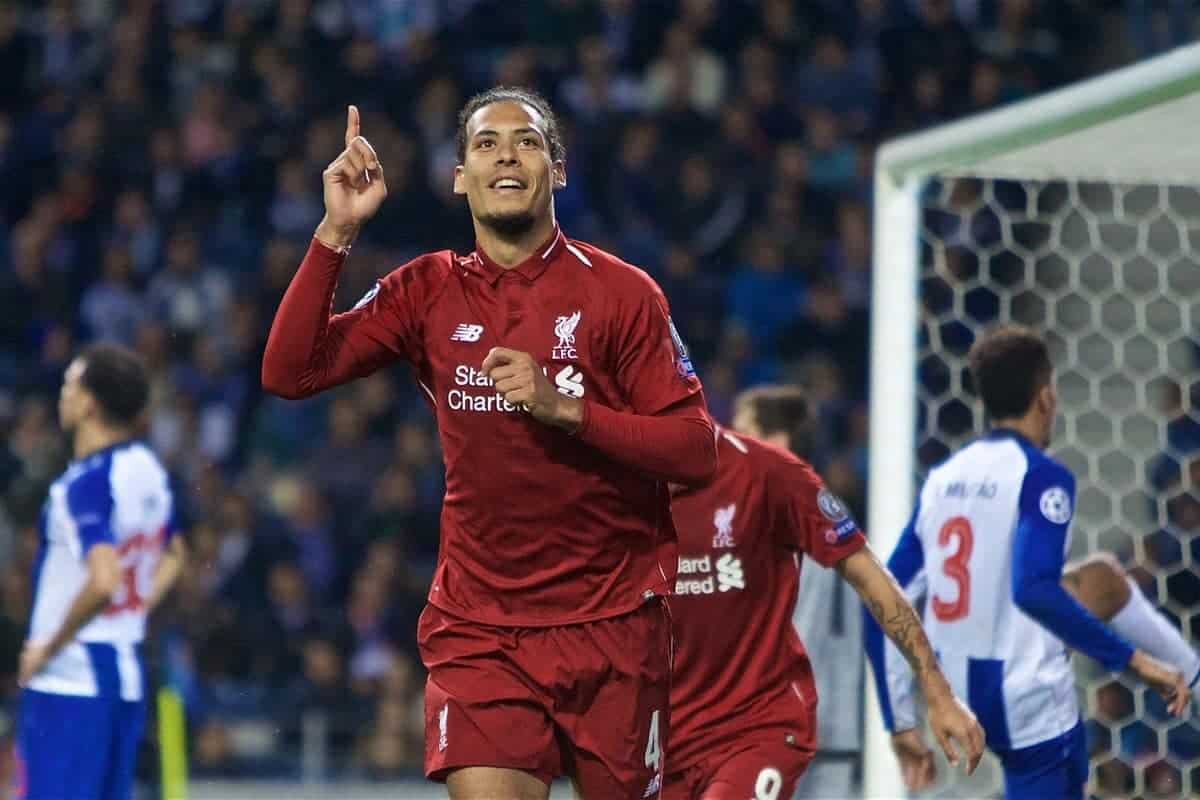 "PORTO, PORTUGAL - Wednesday, April 17, 2019: Liverpool's Virgil van Dijk celebrates scoring the fourth goal during the UEFA Champions League Quarter-Final 2nd Leg match between FC Porto and Liverpool FC at Est·dio do Drag""o. (Pic by David Rawcliffe/Propaganda)"