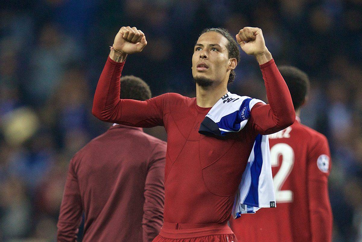 """PORTO, PORTUGAL - Wednesday, April 17, 2019: Liverpool's Virgil van Dijk celebrates after the 4-1 (6-1 on aggregate) victory during the UEFA Champions League Quarter-Final 2nd Leg match between FC Porto and Liverpool FC at Est·dio do Drag""""o. (Pic by David Rawcliffe/Propaganda)"""