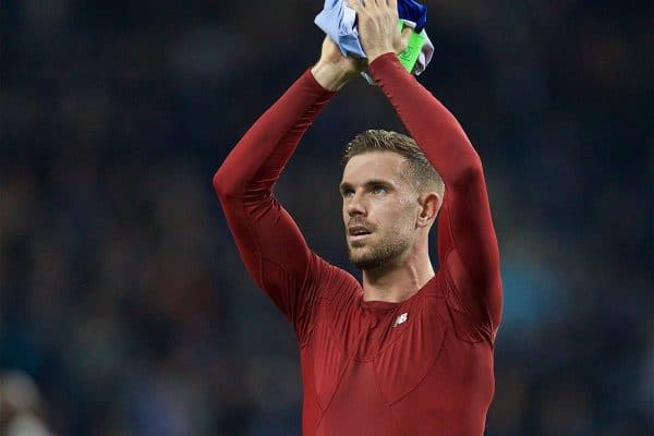 "PORTO, PORTUGAL - Wednesday, April 17, 2019: Liverpool's captain Jordan Henderson celebrates after the 4-1 (6-1 on aggregate) victory during the UEFA Champions League Quarter-Final 2nd Leg match between FC Porto and Liverpool FC at Est·dio do Drag""o. (Pic by David Rawcliffe/Propaganda)"