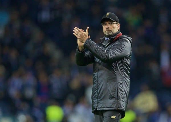 PORTO, PORTUGAL - Wednesday, April 17, 2019: Liverpool's manager Jürgen Klopp celebrates after the 4-1 (6-1 on aggregate) victory during the UEFA Champions League Quarter-Final 2nd Leg match between FC Porto and Liverpool FC at Estádio do Dragão. (Pic by David Rawcliffe/Propaganda)