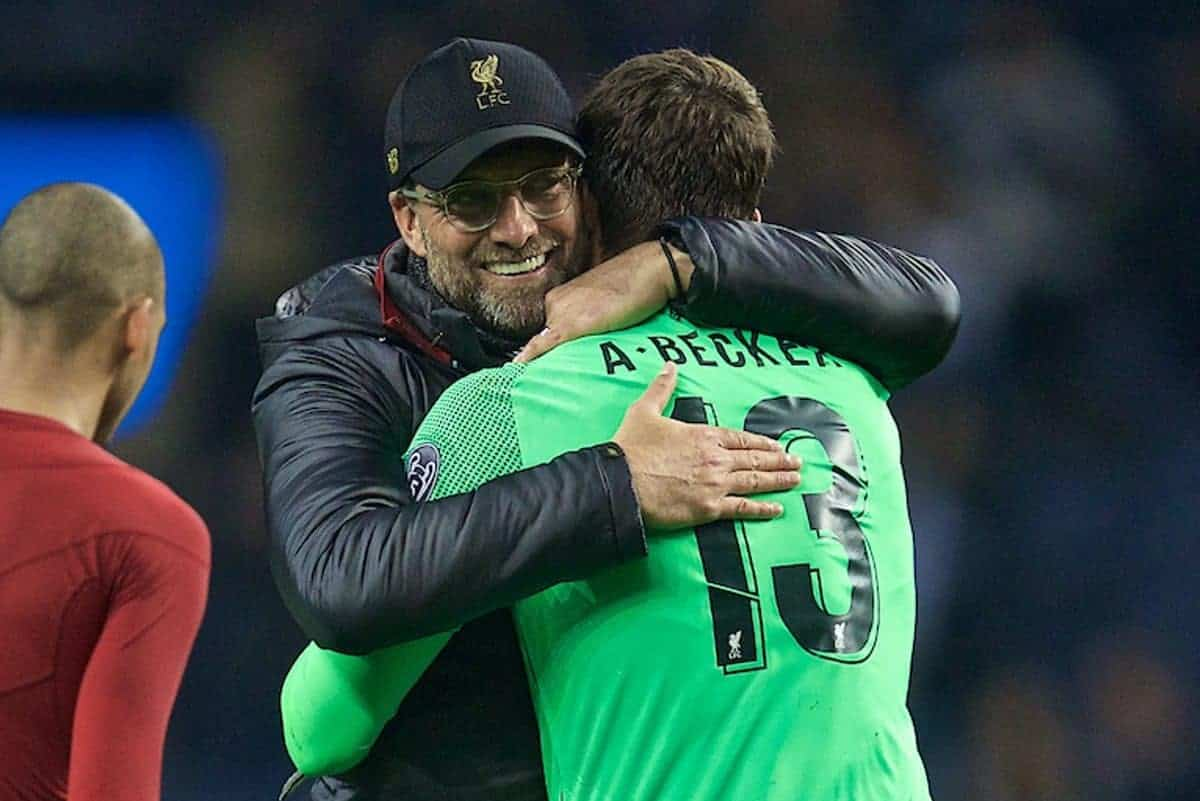"""PORTO, PORTUGAL - Wednesday, April 17, 2019: Liverpool's manager J¸rgen Klopp celebrates with goalkeeper Alisson Becker after the 4-1 (6-1 on aggregate) victory during the UEFA Champions League Quarter-Final 2nd Leg match between FC Porto and Liverpool FC at Est·dio do Drag""""o. (Pic by David Rawcliffe/Propaganda)"""
