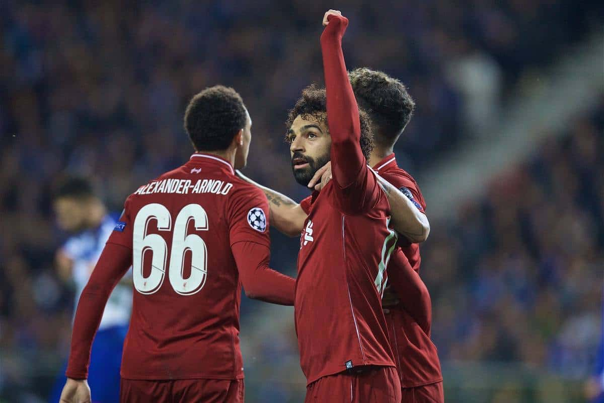 """PORTO, PORTUGAL - Wednesday, April 17, 2019: Liverpool's Mohamed Salah celebrates scoring the second goal during the UEFA Champions League Quarter-Final 2nd Leg match between FC Porto and Liverpool FC at Est·dio do Drag""""o. (Pic by David Rawcliffe/Propaganda)"""