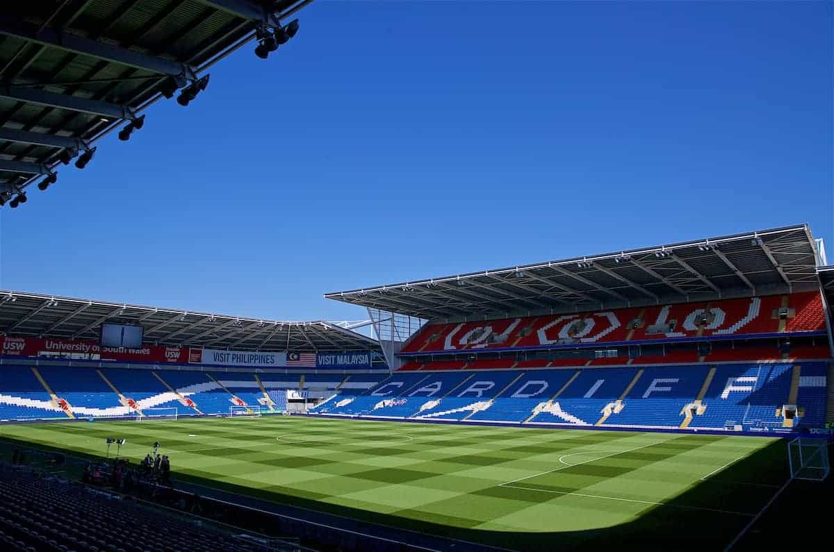 CARDIFF, WALES - Saturday, April 20, 2019: A general view of the Cardiff City Stadium before the FA Premier League match between Cardiff City FC and Liverpool FC. (Pic by David Rawcliffe/Propaganda)