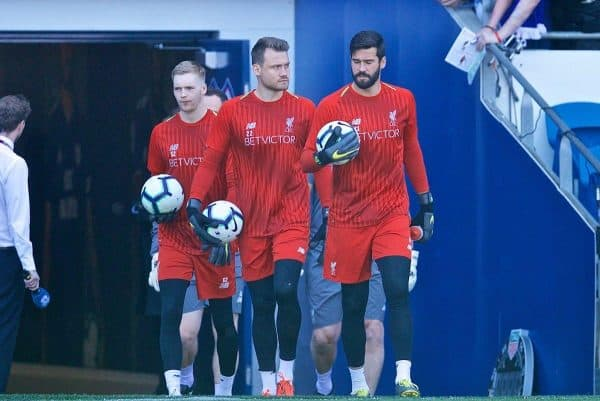 CARDIFF, WALES - Saturday, April 20, 2019: Liverpool's goalkeepers Caoimhin Kelleher, Simon Mignolet and Alisson Becker during the pre-match warm-up before the FA Premier League match between Cardiff City FC and Liverpool FC at the Cardiff City Stadium. (Pic by David Rawcliffe/Propaganda)