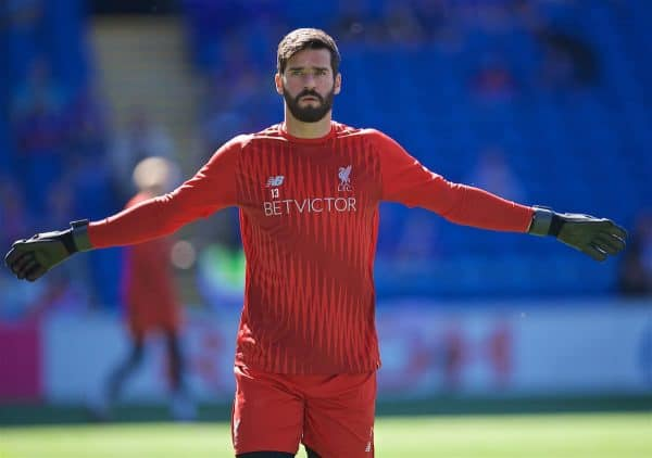 CARDIFF, WALES - Saturday, April 20, 2019: Liverpool's goalkeeper Alisson Becker during the pre-match warm-up before the FA Premier League match between Cardiff City FC and Liverpool FC at the Cardiff City Stadium. (Pic by David Rawcliffe/Propaganda)