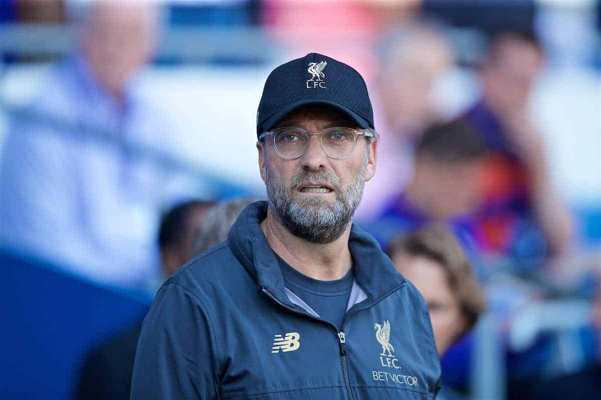 CARDIFF, WALES - Saturday, April 20, 2019: Liverpool's manager Jürgen Klopp before the FA Premier League match between Cardiff City FC and Liverpool FC at the Cardiff City Stadium. (Pic by David Rawcliffe/Propaganda)