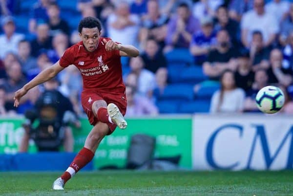 CARDIFF, WALES - Saturday, April 20, 2019: Liverpool's Trent Alexander-Arnold takes a free-kick during the FA Premier League match between Cardiff City FC and Liverpool FC at the Cardiff City Stadium. (Pic by David Rawcliffe/Propaganda)