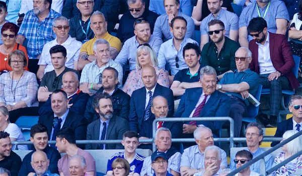 CARDIFF, WALES - Saturday, April 20, 2019: Former Liverpool player John Toshack watches with his son Cameron along with LFC's chief executive officer Peter Moore and actor Michael Sheen during the FA Premier League match between Cardiff City FC and Liverpool FC at the Cardiff City Stadium. (Pic by David Rawcliffe/Propaganda)