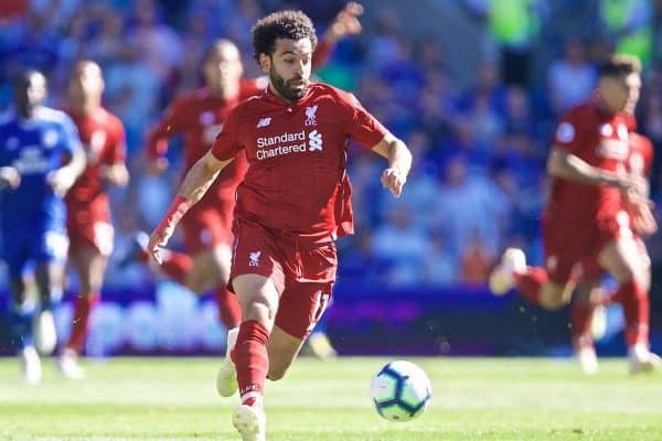 CARDIFF, WALES - Saturday, April 20, 2019: Liverpool's Mohamed Salah during the FA Premier League match between Cardiff City FC and Liverpool FC at the Cardiff City Stadium. (Pic by David Rawcliffe/Propaganda)