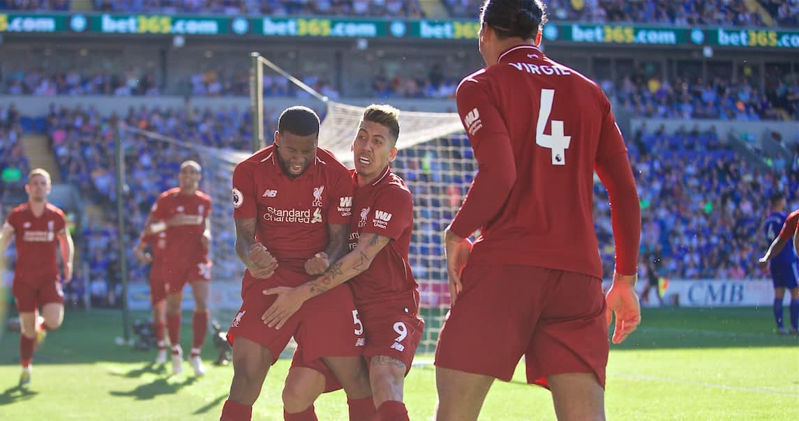 CARDIFF, WALES - Saturday, April 20, 2019: Liverpool's Georginio Wijnaldum celebrates scoring the first goal during the FA Premier League match between Cardiff City FC and Liverpool FC at the Cardiff City Stadium. (Pic by David Rawcliffe/Propaganda)