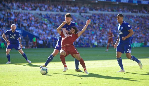Liverpool's Mohamed Salah is brought down by Cardiff City's captain Sean Morrison for a penalty during the FA Premier League match between Cardiff City FC and Liverpool FC at the Cardiff City Stadium. (Pic by David Rawcliffe/Propaganda)