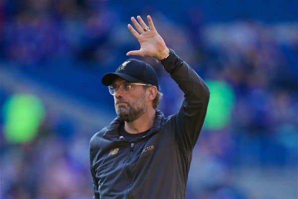 CARDIFF, WALES - Saturday, April 20, 2019: Liverpool's manager J¸rgen Klopp celebrates after the 2-0 victory during the FA Premier League match between Cardiff City FC and Liverpool FC at the Cardiff City Stadium. (Pic by David Rawcliffe/Propaganda)