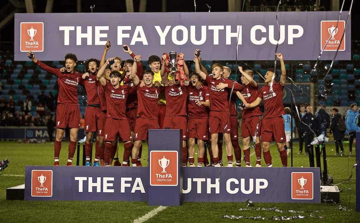 Liverpool's captain Paul Glatzel lifts the cup after winning the FA Youth Cup Final match between Manchester City FC and Liverpool FC at the Academy Stadium. Liverpool won 5-4 on penalties after a 1-1 draw. (Pic by David Rawcliffe/Propaganda)2