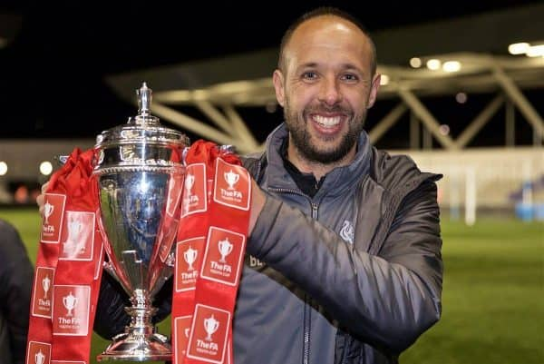 MANCHESTER, ENGLAND - Thursday, April 25, 2019: Liverpool's Under-18 manager Barry Lewtas celebrates with the trophy after the FA Youth Cup Final match between Manchester City FC and Liverpool FC at the Academy Stadium. Liverpool won 5-4 on penalties after a 1-1 extra-time draw. (Pic by David Rawcliffe/Propaganda)