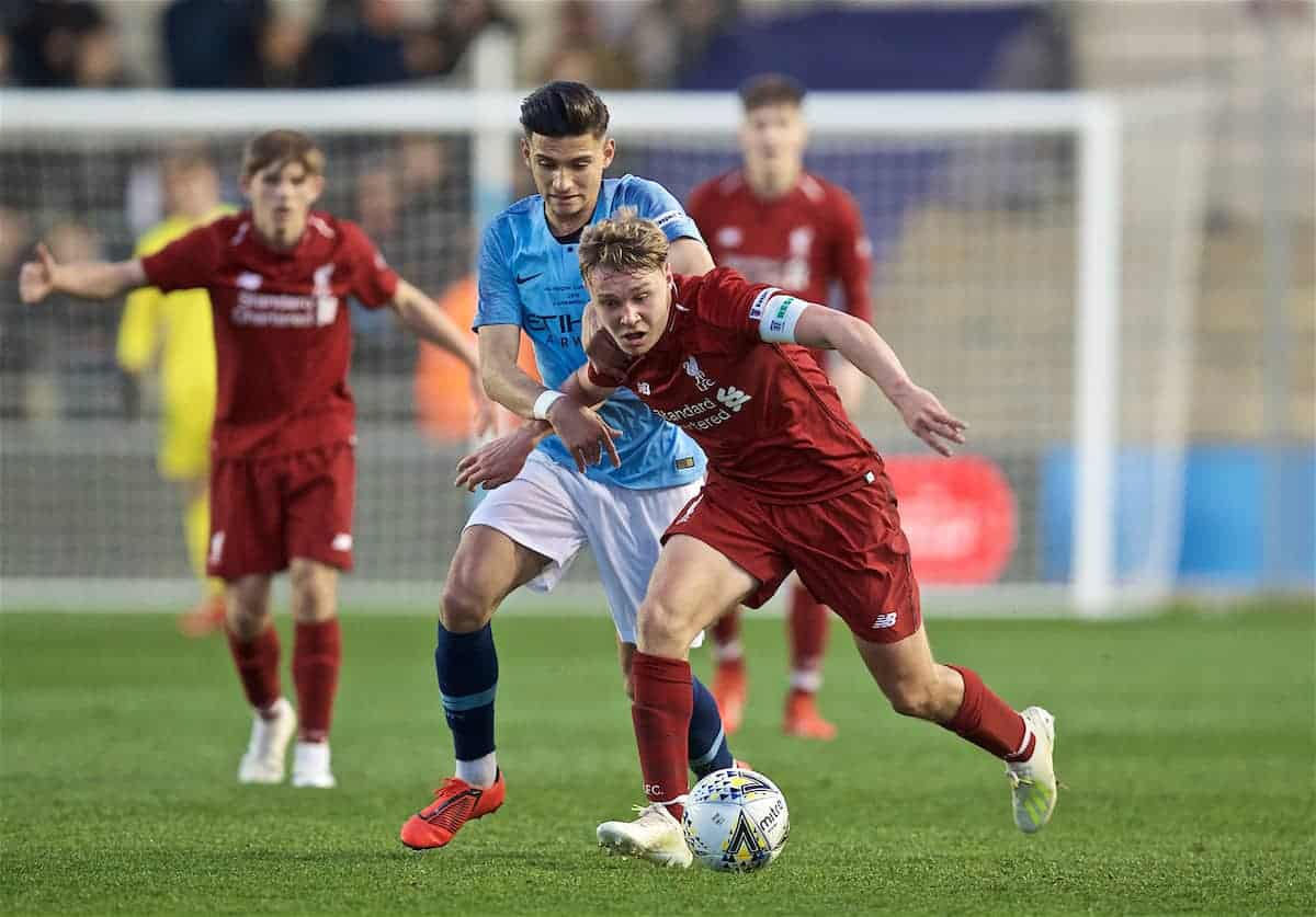 Liverpool's captain Paul Glatzel (R) is tackled by Manchester City's Nabil Touaizi during the FA Youth Cup Final match between Manchester City FC and Liverpool FC at the Academy Stadium. (Pic by David Rawcliffe/Propaganda)