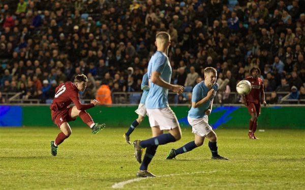 MANCHESTER, ENGLAND - Thursday, April 25, 2019: Liverpool's Bobby Duncan scores a late equalising goal during the FA Youth Cup Final match between Manchester City FC and Liverpool FC at the Academy Stadium. (Pic by David Rawcliffe/Propaganda)