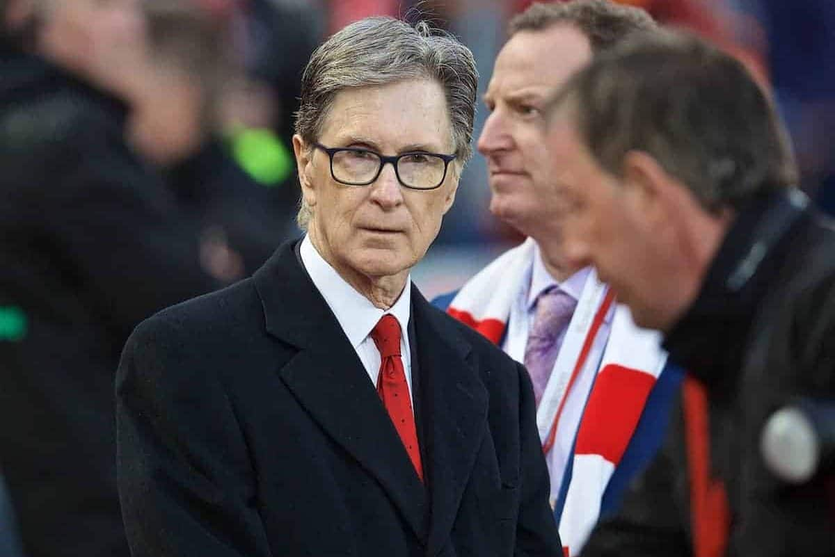 LIVERPOOL, ENGLAND - Friday, April 26, 2019: Liverpool's owner John W. Henry during the FA Premier League match between Liverpool FC and Huddersfield Town AFC at Anfield. (Pic by David Rawcliffe/Propaganda)