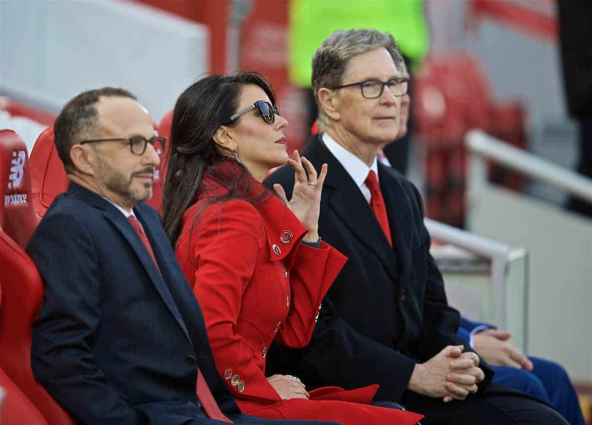 LIVERPOOL, ENGLAND - Friday, April 26, 2019: Liverpool's owner John W. Henry and wife Linda Pizzuti during the FA Premier League match between Liverpool FC and Huddersfield Town AFC at Anfield. (Pic by David Rawcliffe/Propaganda)