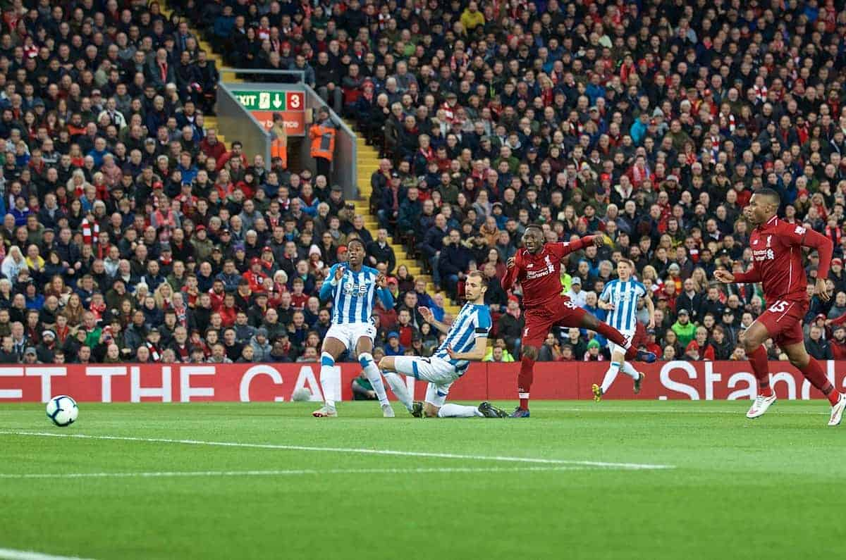 LIVERPOOL, ENGLAND - Friday, April 26, 2019: Liverpool's Naby Keita scores the first goal during the FA Premier League match between Liverpool FC and Huddersfield Town AFC at Anfield. (Pic by David Rawcliffe/Propaganda)