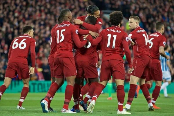 LIVERPOOL, ENGLAND - Friday, April 26, 2019: Liverpool's Naby Keita (8) celebrates scoring the first goal with team-mate during the FA Premier League match between Liverpool FC and Huddersfield Town AFC at Anfield. (Pic by David Rawcliffe/Propaganda)