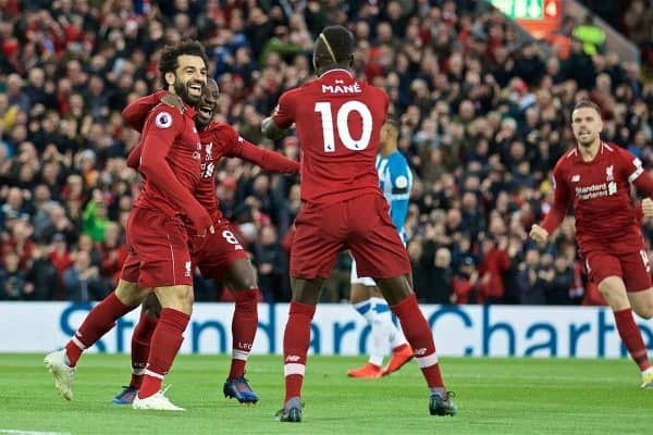 LIVERPOOL, ENGLAND - Friday, April 26, 2019: Liverpool's Naby Keita celebrates scoring the first goal with team-mates during the FA Premier League match between Liverpool FC and Huddersfield Town AFC at Anfield. (Pic by David Rawcliffe/Propaganda)