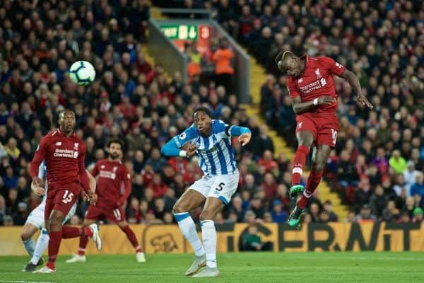 LIVERPOOL, ENGLAND - Friday, April 26, 2019: Liverpool's Sadio Mane scores the second goal during the FA Premier League match between Liverpool FC and Huddersfield Town AFC at Anfield. (Pic by David Rawcliffe/Propaganda)