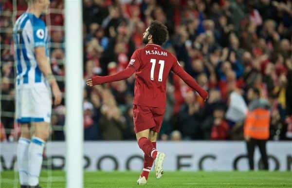 LIVERPOOL, ENGLAND - Friday, April 26, 2019: Liverpool's Mohamed Salah celebrates scoring the third goal during the FA Premier League match between Liverpool FC and Huddersfield Town AFC at Anfield. (Pic by David Rawcliffe/Propaganda)