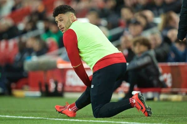 LIVERPOOL, ENGLAND - Friday, April 26, 2019: Liverpool's substitute Alex Oxlade-Chamberlain during the FA Premier League match between Liverpool FC and Huddersfield Town AFC at Anfield. (Pic by David Rawcliffe/Propaganda)