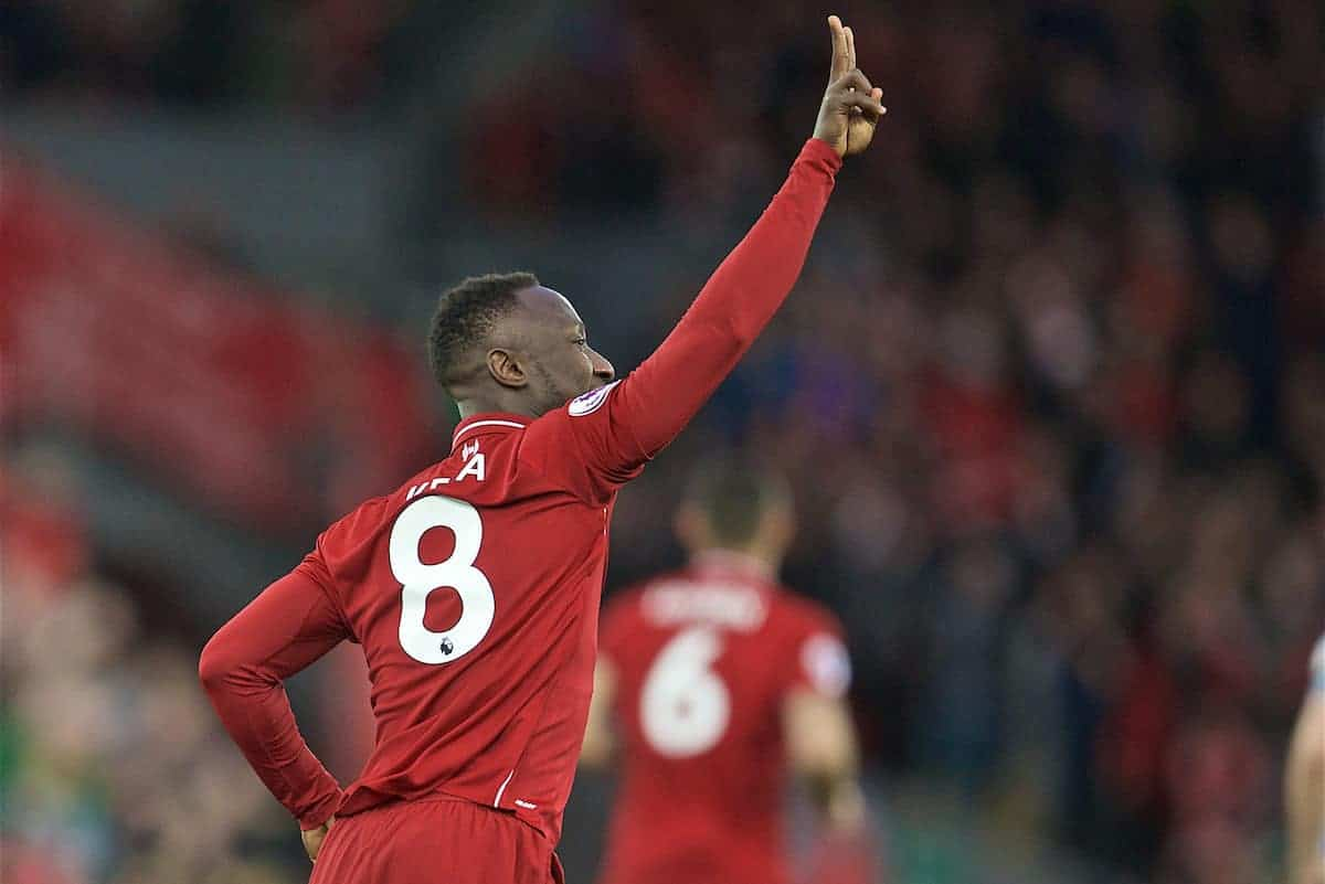 LIVERPOOL, ENGLAND - Friday, April 26, 2019: Liverpool's Naby Keita celebrates scoring the first goal during the FA Premier League match between Liverpool FC and Huddersfield Town AFC at Anfield. (Pic by David Rawcliffe/Propaganda)