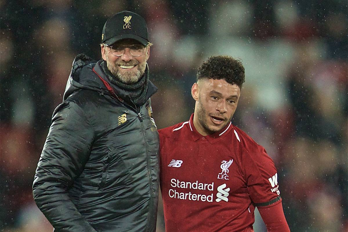 LIVERPOOL, ENGLAND - Friday, April 26, 2019: Liverpool's manager J¸rgen Klopp (L) and Alex Oxlade-Chamberlain (L) celebrate after the FA Premier League match between Liverpool FC and Huddersfield Town AFC at Anfield. Liverpool won 5-0. (Pic by David Rawcliffe/Propaganda)