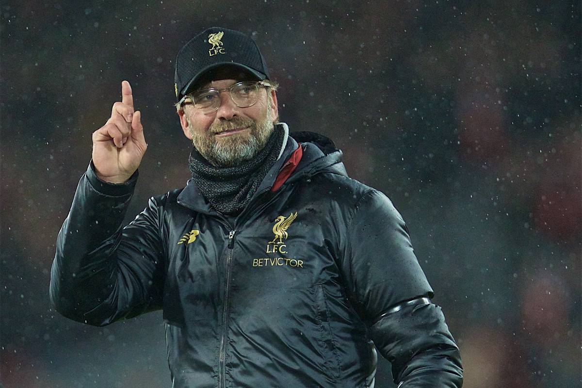 LIVERPOOL, ENGLAND - Friday, April 26, 2019: Liverpool's manager J¸rgen Klopp celebrates after the FA Premier League match between Liverpool FC and Huddersfield Town AFC at Anfield. Liverpool won 5-0. (Pic by David Rawcliffe/Propaganda)
