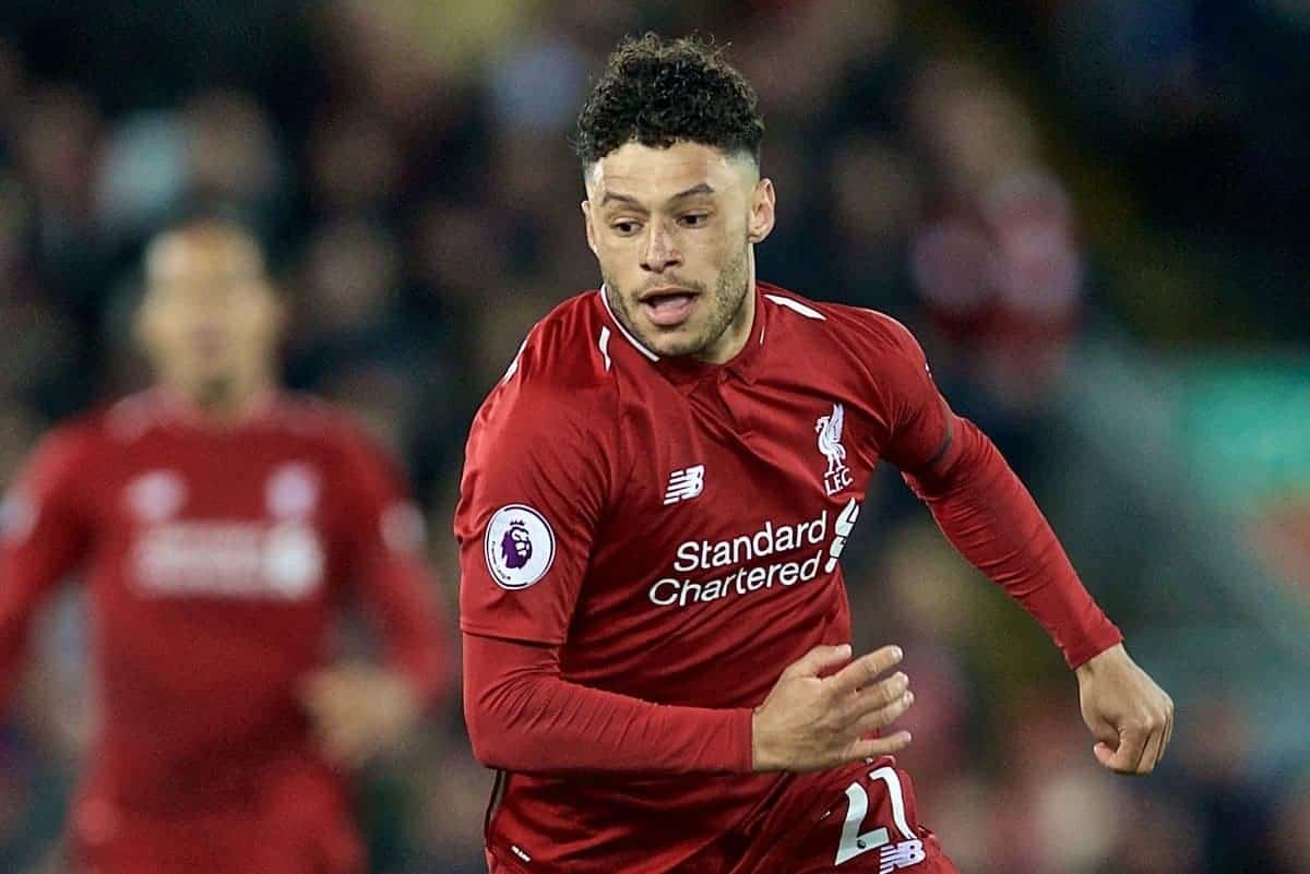 LIVERPOOL, ENGLAND - Friday, April 26, 2019: Liverpool's Alex Oxlade-Chamberlain during the FA Premier League match between Liverpool FC and Huddersfield Town AFC at Anfield. (Pic by David Rawcliffe/Propaganda)