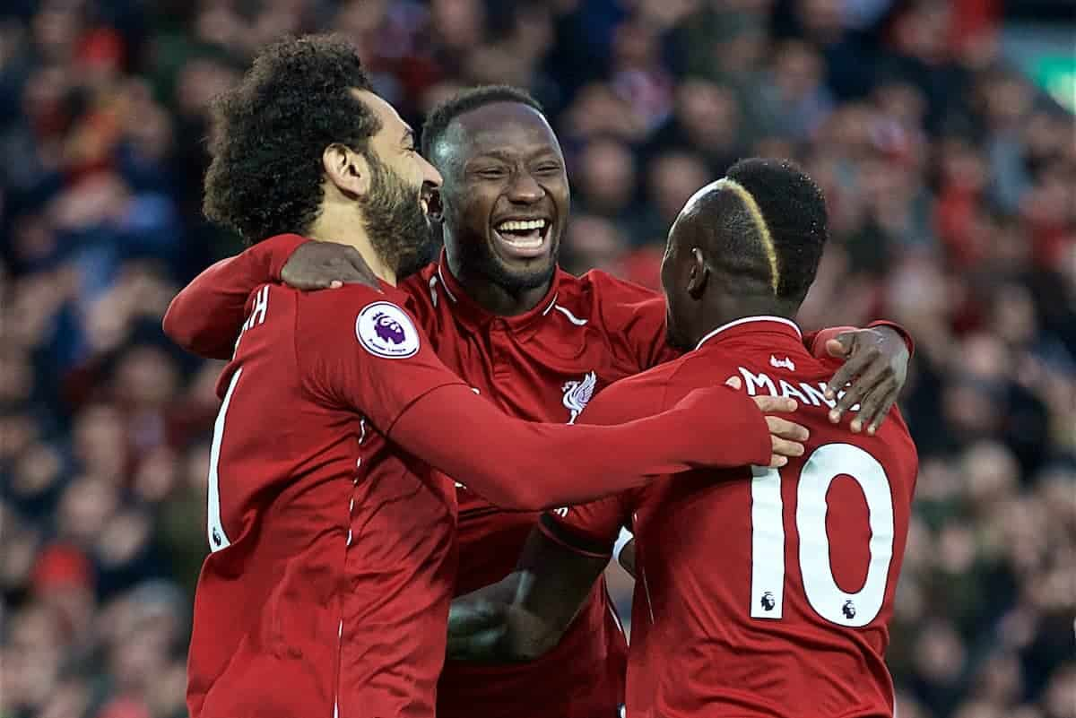 LIVERPOOL, ENGLAND - Friday, April 26, 2019: Liverpool's Naby Keita (C) celebrates scoring the first goal, in the first minute, with team-mates Mohamed Salah (L) and Sadio Mane (R) during the FA Premier League match between Liverpool FC and Huddersfield Town AFC at Anfield. (Pic by David Rawcliffe/Propaganda)