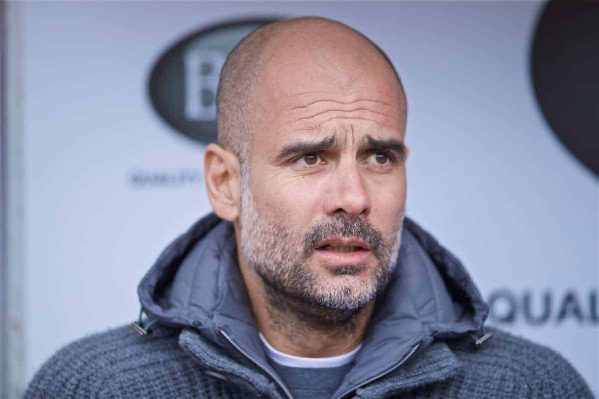 BURNLEY, ENGLAND - Sunday, April 28, 2019: Manchester City's manager Pep Guardiola before the FA Premier League match between Burnley FC and Manchester City FC at Turf Moor. (Pic by David Rawcliffe/Propaganda)