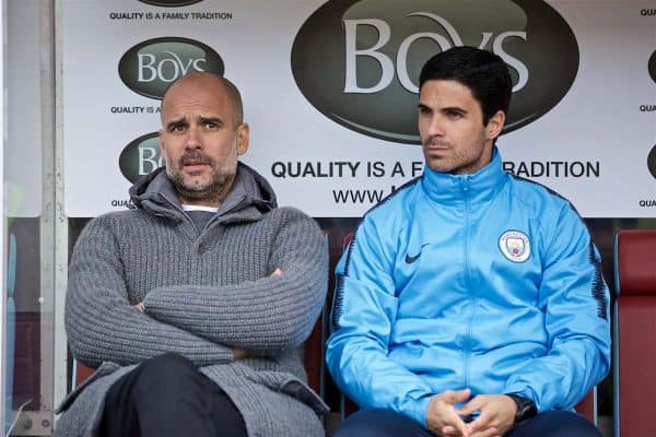 BURNLEY, ENGLAND - Sunday, April 28, 2019: Manchester City's manager Pep Guardiola (L) and assistant coach Mikael Arteta during the FA Premier League match between Burnley FC and Manchester City FC at Turf Moor. (Pic by David Rawcliffe/Propaganda)