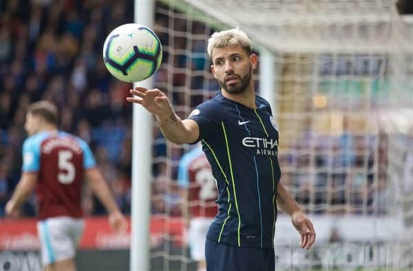 BURNLEY, ENGLAND - Sunday, April 28, 2019: Manchester City's Sergio Aguero during the FA Premier League match between Burnley FC and Manchester City FC at Turf Moor. (Pic by David Rawcliffe/Propaganda)