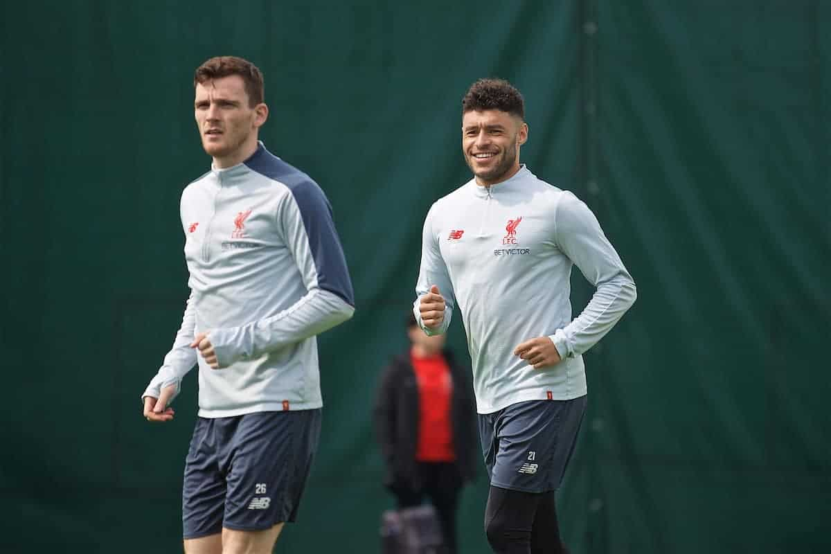 LIVERPOOL, ENGLAND - Tuesday, April 30, 2019: Liverpool's Andy Robertson (L) and Alex Oxlade-Chamberlain during a training session at Melwood Training Ground ahead of the UEFA Champions League Semi-Final 1st Leg match between FC Barcelona and Liverpool FC. (Pic by Laura Malkin/Propaganda)