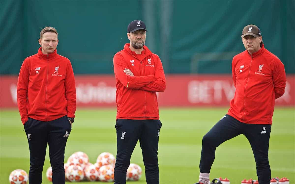 LIVERPOOL, ENGLAND - Tuesday, April 30, 2019: Liverpool's manager Jürgen Klopp (C) with first-team development coach Pepijn Lijnders (L) and assistant manager Peter Krawietz (R) during a training session at Melwood Training Ground ahead of the UEFA Champions League Semi-Final 1st Leg match between FC Barcelona and Liverpool FC. (Pic by Laura Malkin/Propaganda)